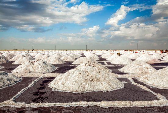 Salt mine at Sambhar Lake in daytime. Sambhar, Rajasthan, India